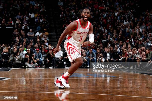 Chris Paul of the Houston Rockets reacts against the Brooklyn Nets on November 2 2018 at Madison Square Garden in New York City New York NOTE TO USER...