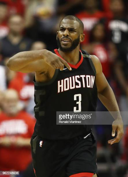 Chris Paul of the Houston Rockets reacts against the Golden State Warriors in the fourth quarter of Game Five of the Western Conference Finals of the...