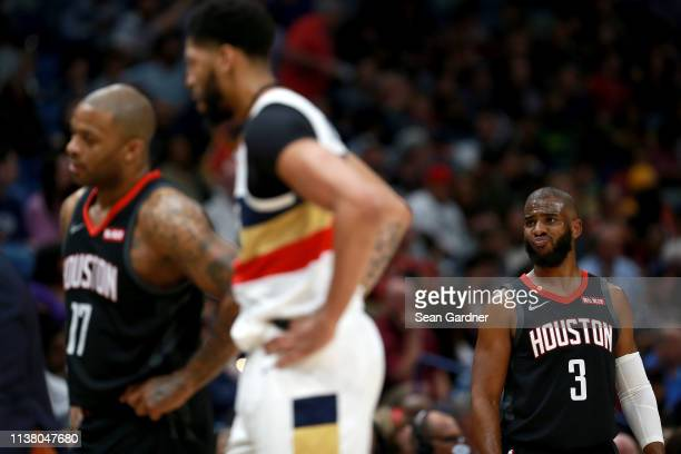 Chris Paul of the Houston Rockets reacts to a call during the first half of a game against the New Orleans Pelicans at the Smoothie King Center on...
