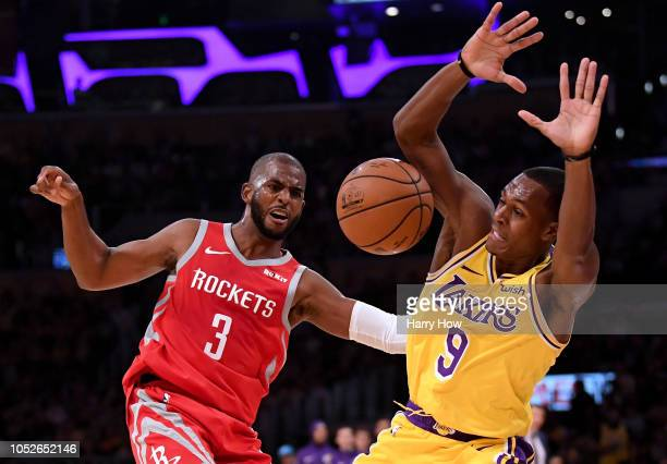 Chris Paul of the Houston Rockets reacts to a foul from Rajon Rondo of the Los Angeles Lakers during the second quarter at Staples Center on October...