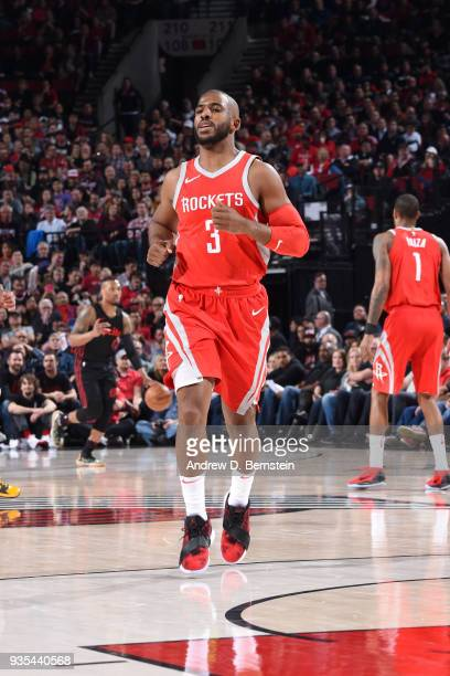 Chris Paul of the Houston Rockets runs up the court during the game against the Portland Trail Blazers on March 20 2018 at the Moda Center in...