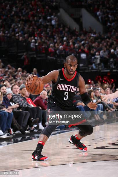 Chris Paul of the Houston Rockets shoots the ball against the Portland Trail Blazers on December 9 2017 at the Moda Center in Portland Oregon NOTE TO...