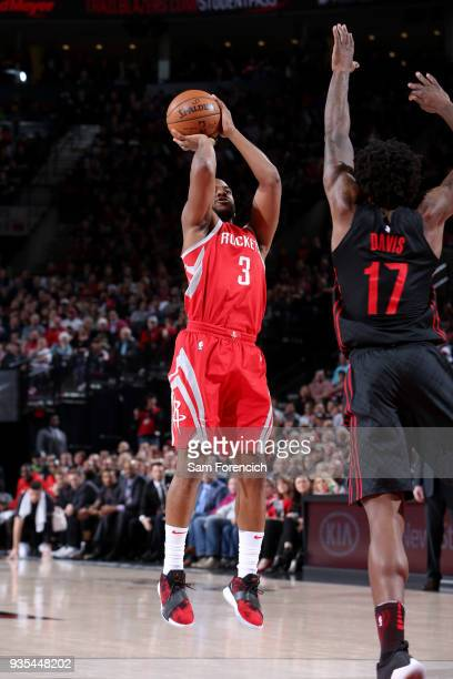 Chris Paul of the Houston Rockets shoots the ball against the Portland Trail Blazers on March 20 2018 at the Moda Center in Portland Oregon NOTE TO...