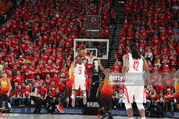 Chris Paul of the Houston Rockets shoots the ball against the Utah Jazz as the clock winds down to an end during the first quarter during Game Three...
