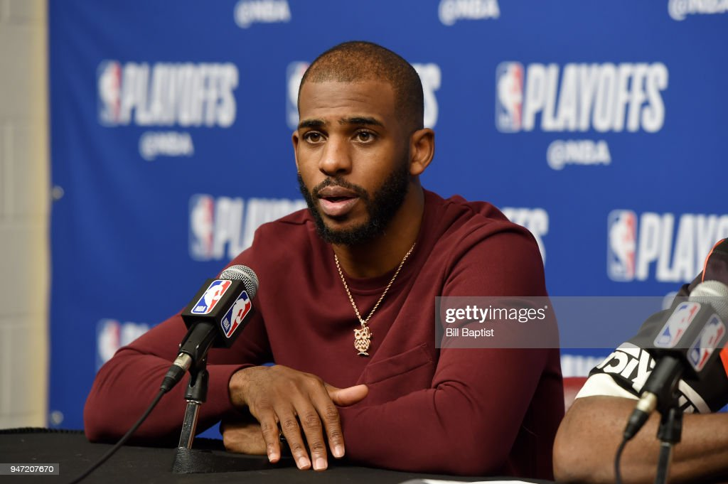 Chris Paul #3 of the Houston Rockets speaks during the post-game press conference after Game One of Round One against the Minnesota Timberwolves of the 2018 NBA Playoffs on April 15, 2018 at the Toyota Center in Houston, Texas.