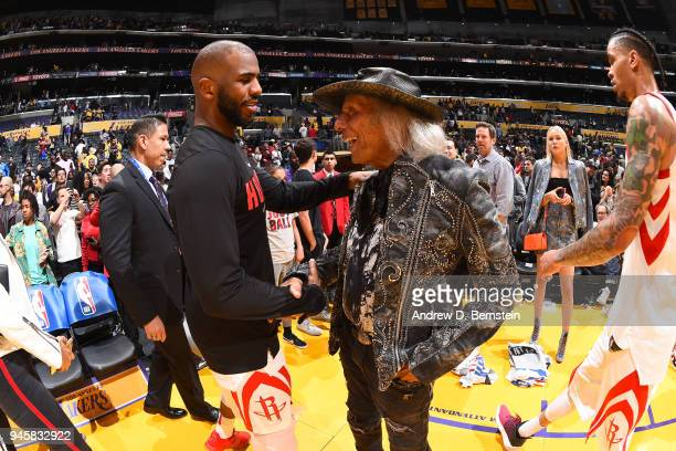 Chris Paul of the Houston Rockets speaks to James Goldstein after the game against the Los Angeles Lakers on April 10 2017 at STAPLES Center in Los...