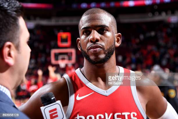 Chris Paul of the Houston Rockets speaks with media after the game against the Milwaukee Bucks of the Houston Rockets of the Milwaukee Bucks during...