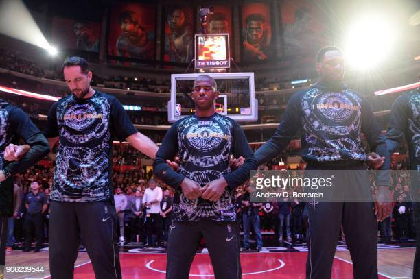 Chris Paul of the Houston Rockets stands for the national anthem prior to the game against the LA Clippers on January 15 2018 at STAPLES Center in...