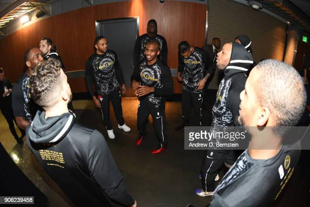 Chris Paul of the Houston Rockets talks with his teammates prior to the game against the LA Clippers on January 15 2018 at STAPLES Center in Los...