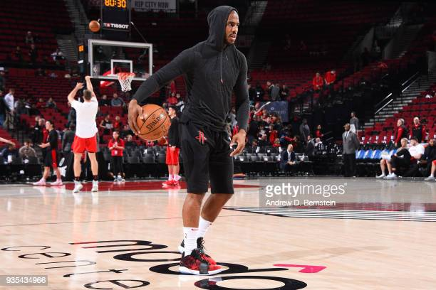 Chris Paul of the Houston Rockets warms up before the game against the Portland Trail Blazers on March 20 2018 at the Moda Center in Portland Oregon...