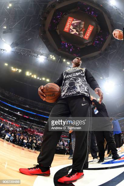 Chris Paul of the Houston Rockets warms up prior to the game against the LA Clippers on January 15 2018 at STAPLES Center in Los Angeles California...