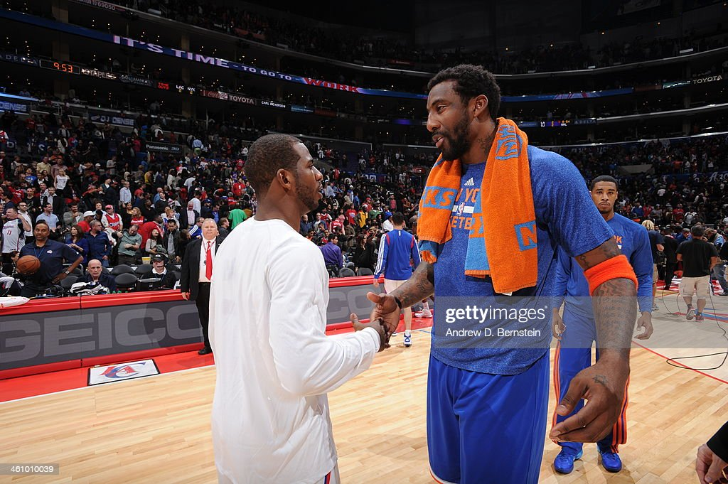 Chris Paul #3 of the Los Angeles Clippers and Amar'e Stoudemire #1 of the New York Knicks shake hands after a game against the New York Knicks at Staples Center on November 27, 2013 in Los Angeles, California.