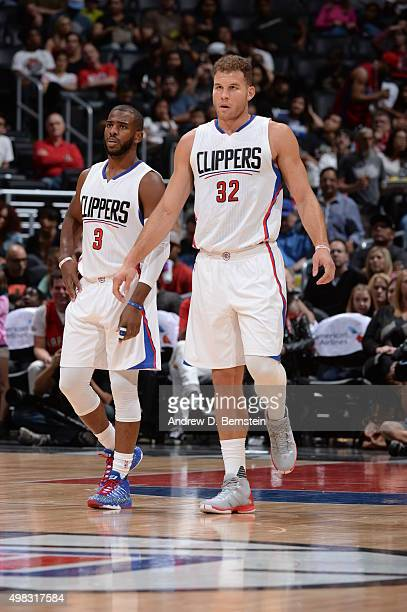 Chris Paul of the Los Angeles Clippers and Blake Griffin of the Los Angeles Clippers stand on the court against the Toronto Raptors on November 22...