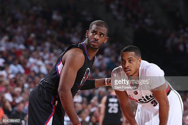 Chris Paul of the Los Angeles Clippers and CJ McCollum of the Portland Trail Blazers in Game Four of the Western Conference Quarterfinals during the...