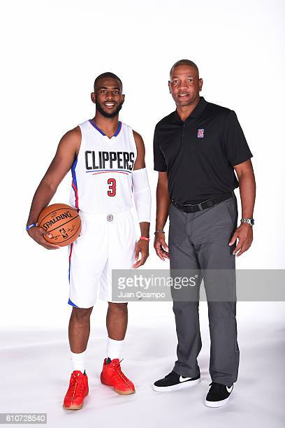 Chris Paul of the Los Angeles Clippers and head coach Doc Rivers of the Los Angeles Clippers pose for a portrait during the 20162017 Los Angeles...