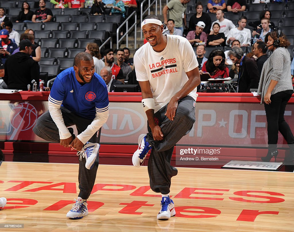 Chris Paul #3 of the Los Angeles Clippers and Paul Pierce #34 of the Los Angeles Clippers warm up before the game against the Golden State Warriors at STAPLES Center on October 20, 2015 in Los Angeles, California.