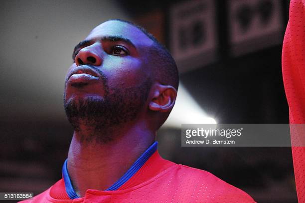 Chris Paul of the Los Angeles Clippers before the game against the Brooklyn Nets on February 29 2016 at Staples Center in Los Angeles California NOTE...