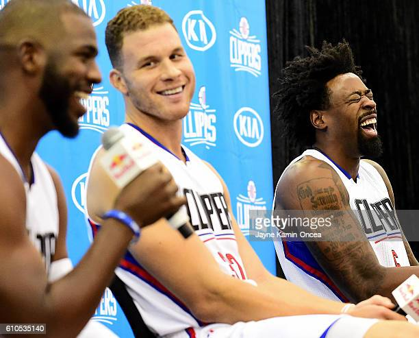 Chris Paul of the Los Angeles Clippers Blake Griffin and DeAndre Jordan share a laugh during media day at the Los Angeles Clippers Training Center on...