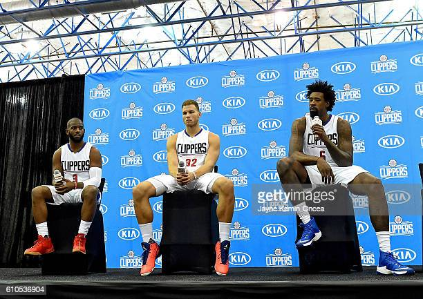 Chris Paul of the Los Angeles Clippers Blake Griffin and DeAndre Jordan attend media day at the Los Angeles Clippers Training Center on September 26...