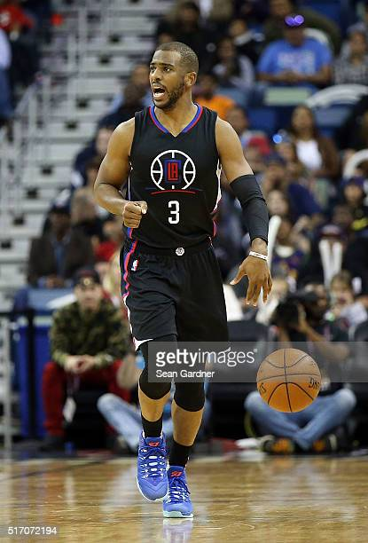 Chris Paul of the Los Angeles Clippers dribbles the ball down the court against the New Orleans Pelicans during the second half at the Smoothie King...