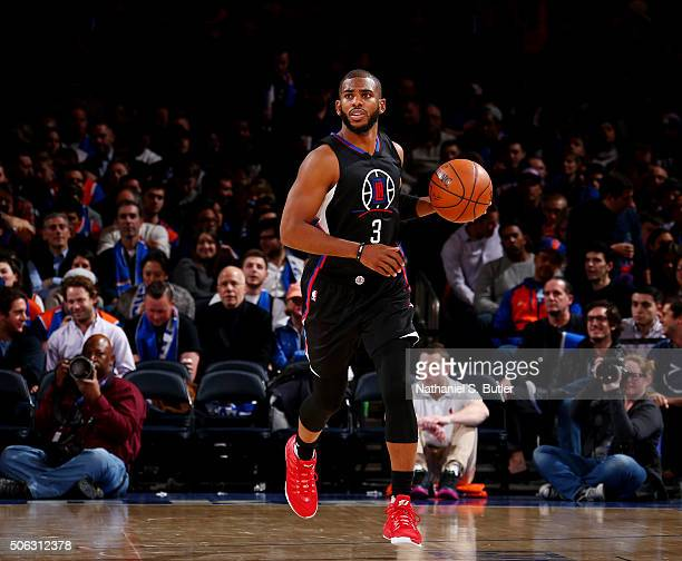 Chris Paul of the Los Angeles Clippers drives to the basket against the New York Knicks during the game on January 22 2016 at Madison Square Garden...