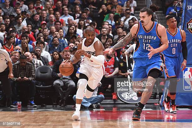 Chris Paul of the Los Angeles Clippers drives to the basket against the Oklahoma City Thunder during the game on March 2 2016 at STAPLES Center in...