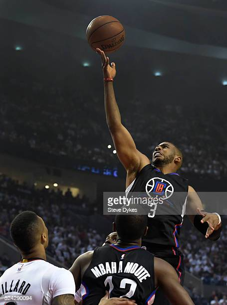 Chris Paul of the Los Angeles Clippers drives to the basket in the first quarter of Game Four of the Western Conference Quarterfinals against the...