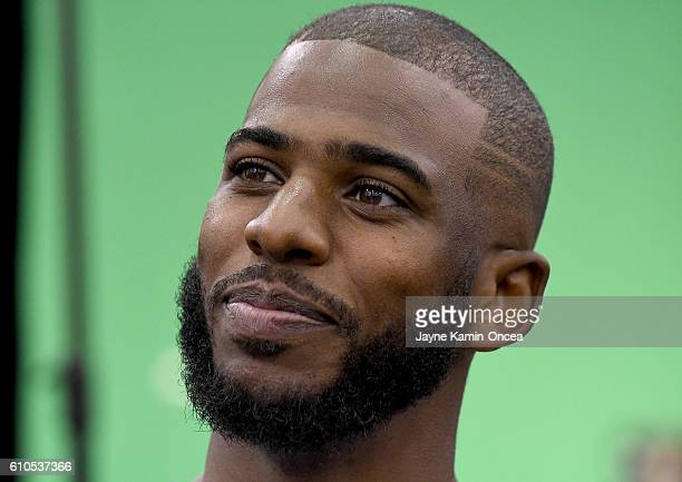 Chris Paul of the Los Angeles Clippers during media day at the Los Angeles Clippers Training Center on September 26 2016 in Playa Vista California...
