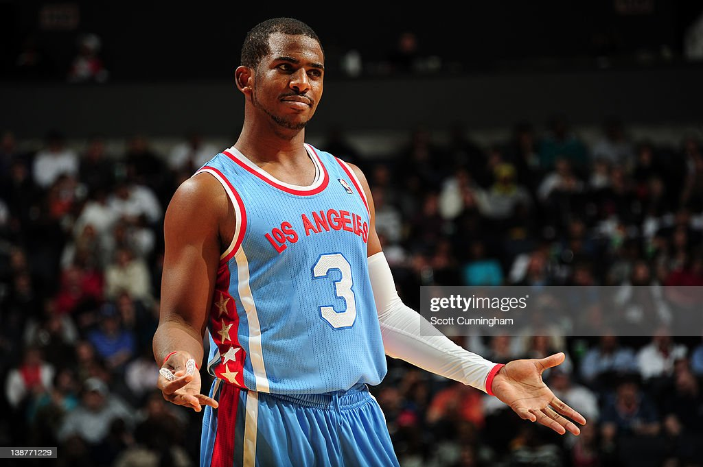 Chris Paul #3 of the Los Angeles Clippers gestures during the game between the Los Angeles Clippers and the Charlotte Bobcats on February 11, 2012 at Philips Arena in Atlanta, Georgia.