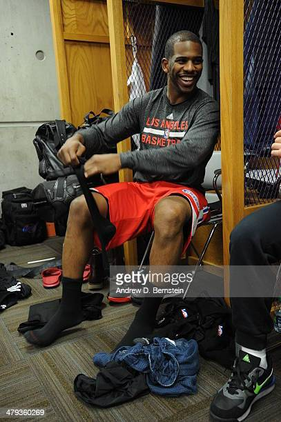 Chris Paul of the Los Angeles Clippers gets ready before the game against the Utah Jazz at EnergySolutions Arena on March 14 2014 in Salt Lake City...
