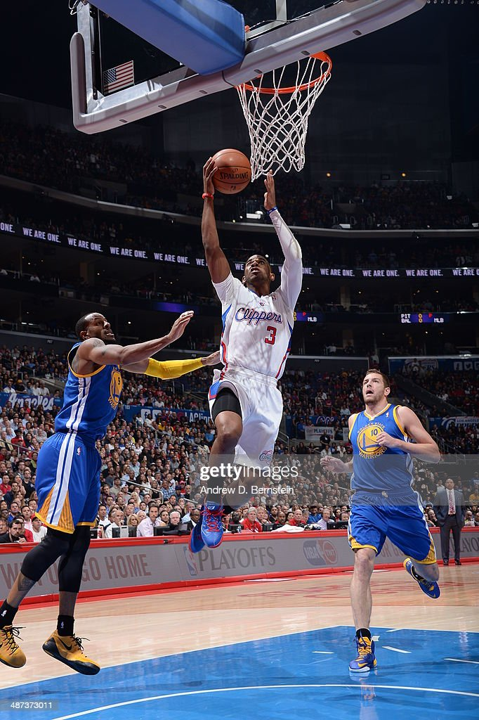 Chris Paul #3 of the Los Angeles Clippers goes up for a shot against the Golden State Warriors in Game Five of the Western Conference Quarterfinals at Staples Center on April 29, 2014 in Los Angeles, California.
