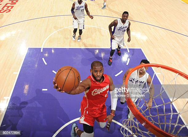 Chris Paul of the Los Angeles Clippers goes up for the layup against the Los Angeles Lakers on December 25 2015 at the Staples Center in Los Angeles...