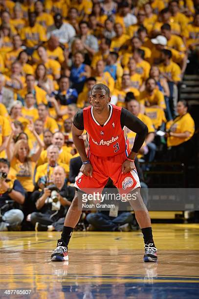 Chris Paul of the Los Angeles Clippers guards his position against the Golden State Warriors in Game Six of the Western Conference Quarterfinals...