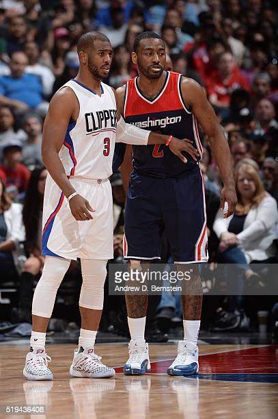 Chris Paul of the Los Angeles Clippers guards John Wall of the Washington Wizards at STAPLES Center on April 03 2016 in Los Angeles California NOTE...