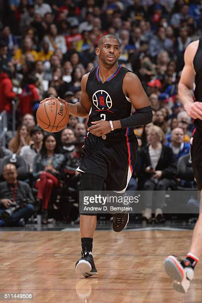 Chris Paul of the Los Angeles Clippers handles the ball against the Golden State Warriors on February 20 2016 at STAPLES Center in Los Angeles...