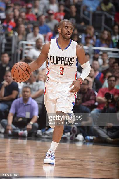 Chris Paul of the Los Angeles Clippers handles the ball against the Denver Nuggets on March 27 2016 at STAPLES Center in Los Angeles California NOTE...