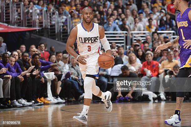 Chris Paul of the Los Angeles Clippers handles the ball against the Los Angeles Lakers on April 5 2016 at STAPLES Center in Los Angeles California...