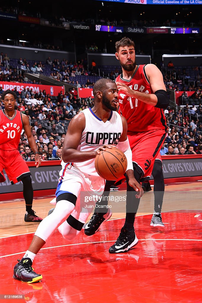 Chris Paul #3 of the Los Angeles Clippers handles the ball against the Toronto Raptors on October 5, 2016 at STAPLES Center in Los Angeles, California.