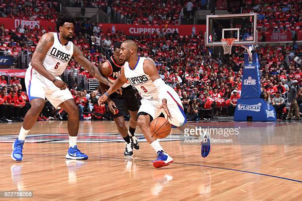 Chris Paul of the Los Angeles Clippers handles the ball during the game against the Portland Trail Blazers in Game Two of the Western Conference...