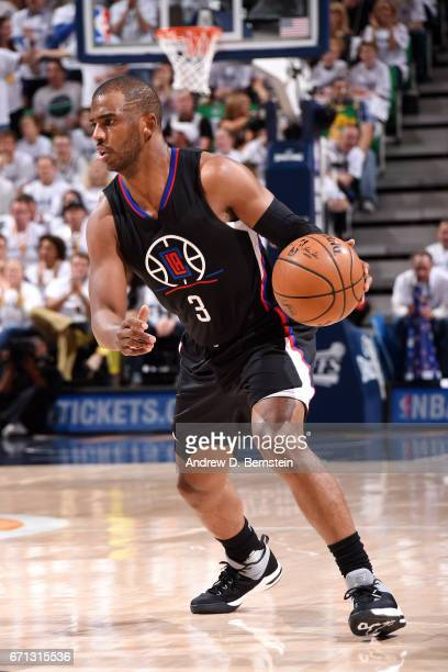 Chris Paul of the Los Angeles Clippers handles the ball during the game against the Utah Jazz during the Western Conference Quarterfinals of the 2017...