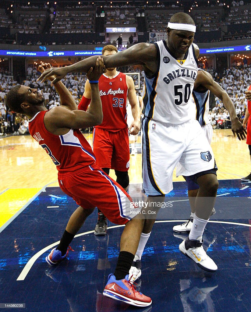 Chris Paul #3 of the Los Angeles Clippers is called for a foul against Zach Randolph #50 of the Memphis Grizzlies in Game Seven of the Western Conference Quarterfinals in the 2012 NBA Playoffs at FedExForum on May 13, 2012 in Memphis, Tennessee.