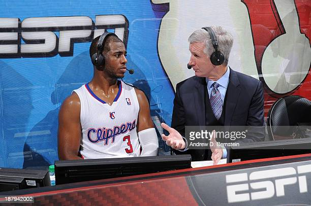 Chris Paul of the Los Angeles Clippers is interviewed by ESPN's Mike Breen after a game against the Oklahoma City Thunder at Staples Center on...