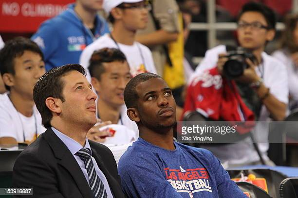 Chris Paul of the Los Angeles Clippers looks on prior to the 2012 NBA China Games between the Miami Heat and the Los Angeles Clippers at the...