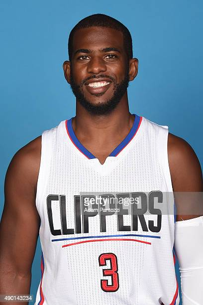 Chris Paul of the Los Angeles Clippers poses for a headshot during media day at the Los Angeles Clippers Training Center on September 25 2015 in...