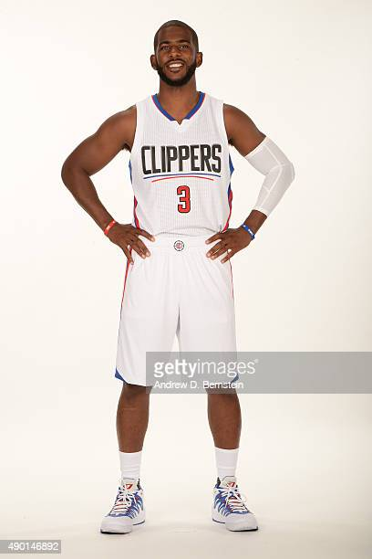 Chris Paul of the Los Angeles Clippers poses for a portrait during media day at the Los Angeles Clippers Training Center on September 25 2015 in...