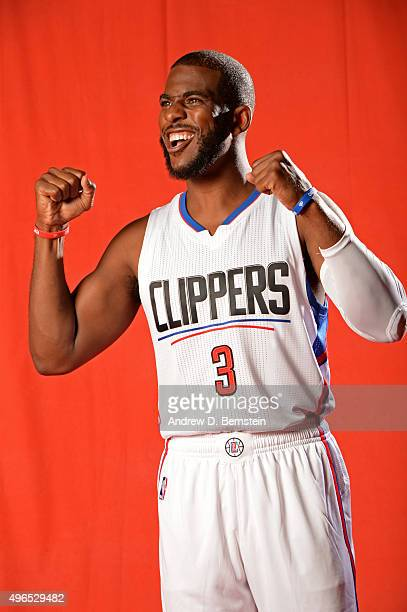 Chris Paul of the Los Angeles Clippers poses for a portrait during media day at the Los Angeles Clippers Training Center on September 24 2015 in...