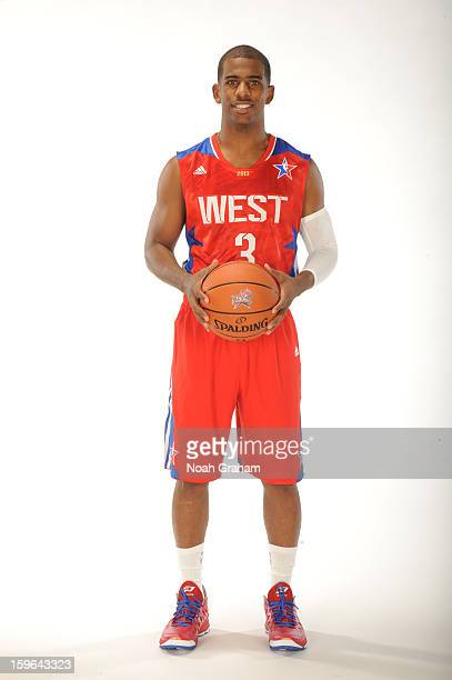 Chris Paul of the Los Angeles Clippers poses for a portrait in his 2013 AllStar jersey on January 11 2013 at their training facility in Playa Vista...