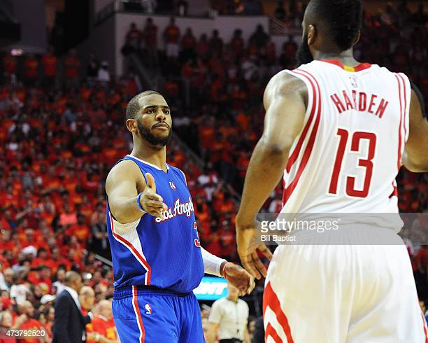 Chris Paul of the Los Angeles Clippers shakes hands with James Harden of the Houston Rockets in Game Seven of the Western Conference Semifinals...