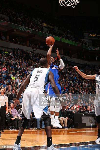 Chris Paul of the Los Angeles Clippers shoots against the Minnesota Timberwolves on March 2 2015 at Target Center in Minneapolis Minnesota NOTE TO...