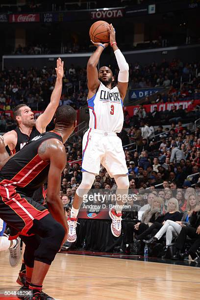 Chris Paul of the Los Angeles Clippers shoots the ball against the Miami Heat on January 13 2016 at STAPLES Center in Los Angeles California NOTE TO...